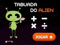Jogos de tabuada do Alien