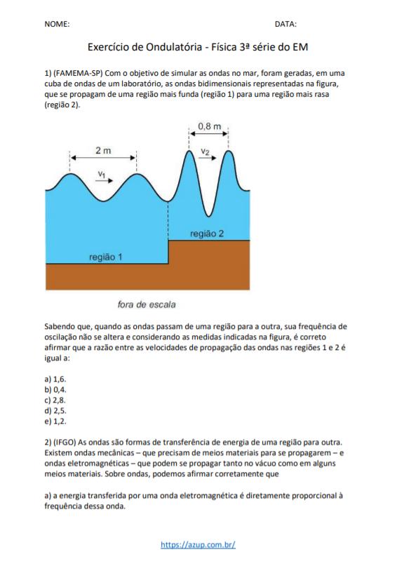 Exercícios de Física 3ª série
