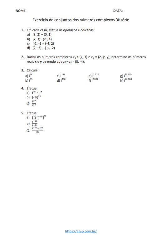 Exercícios de Matemática 3ª série