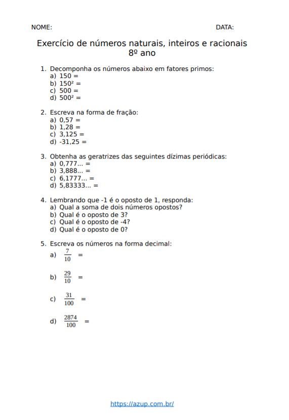Exercícios de Matemática 8º ano